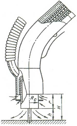 Принципиальная схема горелки для механизированной газосварки в углекислом газе со встроенным отсосом.